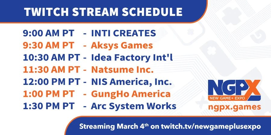 new game plus expo schedule