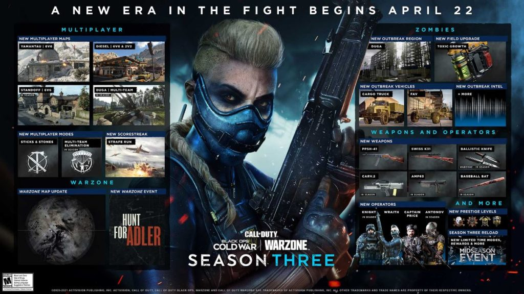 call of duty season 3 roadmap