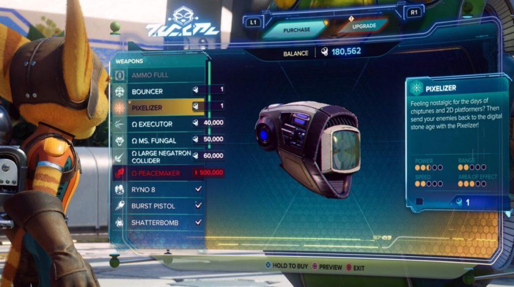 Rift Apart weapons pixelizer