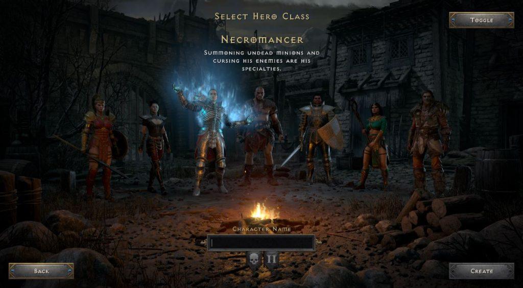 diablo ii resurrected class select